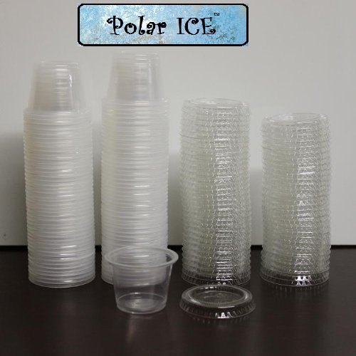 Polar Ice 125 Count Jello Shot Souffle Cups and Lids, 1-Ounce, Translucent