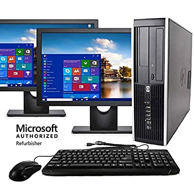 "HP Elite Desktop Computer, Intel Core i5 3.2 GHz, 8 GB RAM, 500 GB HDD, Keyboard & Mouse, Wi-Fi, Dual 19"" LCD Monitors (Brands Vary), DVD-ROM, Windows 10 (Renewed)"