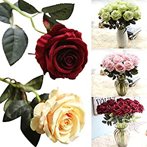 AIUSD Artificial Fake Roses Flannel Flower Bridal Bouquet Wedding Party Home Decor 16