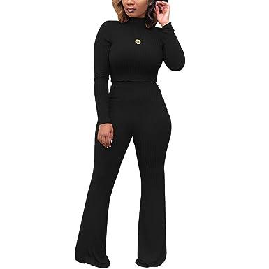 0d175249b06 Women s Winter 2 Piece Outfits - Elegant Slim Crop Top Shirts + High  Waisted Wide Leg