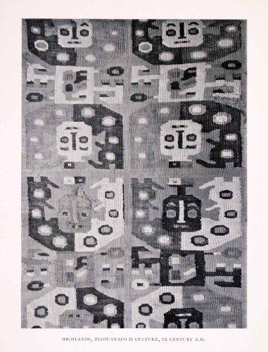 1930 Halftone Print Fabric Bolivia Tiwanaku Tiahuanaco Pre-Colombian Textile Art - Original Halftone Print