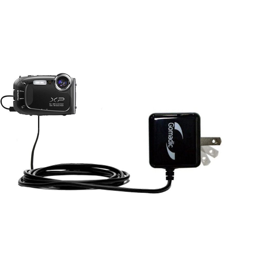 Gomadic High Output Home Wall AC Charger designed for the Fujifilm Finepix XP60 with Power Sleep technology - Intelligently designed with Gomadic TipExchange