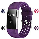 For Fitbit Charge 2 Bands, Soft Silicone Adjustable Replacement Sport Strap Bands for Fitbit Charge 2 Smartwatch Fitness Wristband All Plum Small