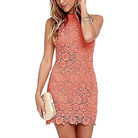 Women's Sexy Sleeveless High Neck Lace Vintage Midi Cocktail Party Dress