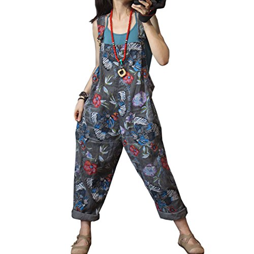 0dd9fc2afaf Flygo Womens Loose Baggy Overalls Jumpsuits Rompers Low Crotch Wide Leg  100% Cotton