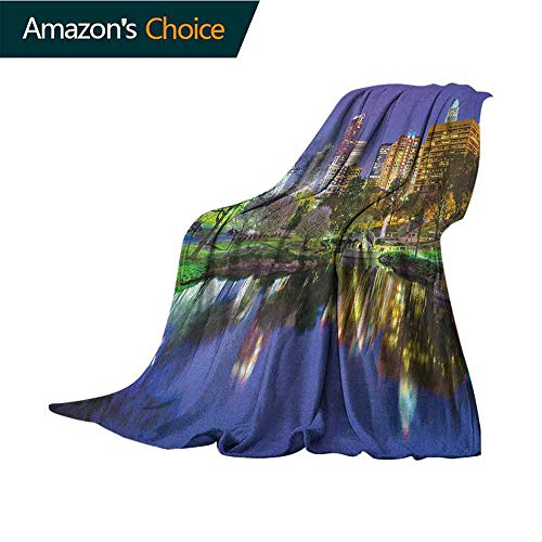 """City Pattern Blanket,North Carolina Marshall Park United States American Night Reflections on Lake Photo Super Soft and Warm,Durable Throw Blanket,60"""" Wx80 L Multicolor"""