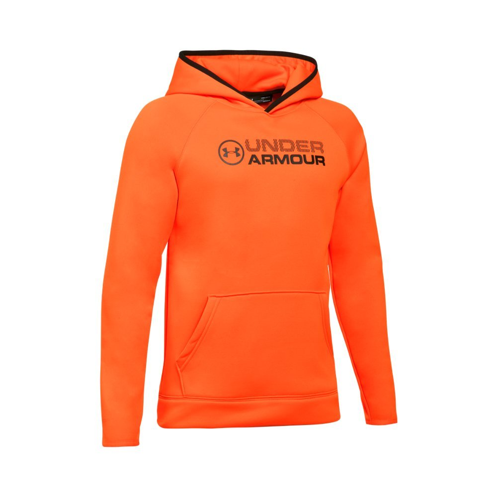 Under Armour Outerwear Boys Fleece Stacked Hoodie, Blaze Orange/Black, Large by Under Armour