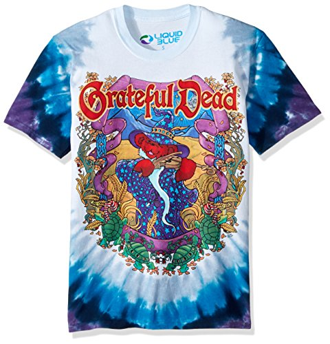 Liquid Blue Men's Plus Size Grateful Dead-Terrapin Moon T-Shirt, Tie Dye, Small - Double Sided Mountain T-shirt
