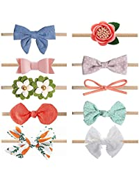 Baby Girl Headbands and Bows Flower,Newborn Headbands,Soft Cute Hairbands,10 Pack Hair Bows Accessories for Newborn Infant Toddler Gift(Style 1)