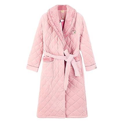 Pijamas con Bordado Damas Lujosas Batas De Baño Abrigo De Hogar Cálido Ropa De Salón Suave