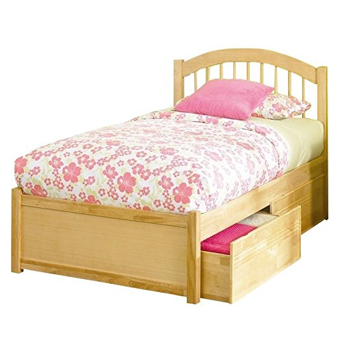 (Leo & Lacey Platform Bed with Flat Panel Footboard in Natural Maple - Queen )