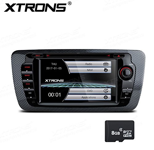 XTRONS 7 Inch HD Digital Touch Screen Car Stereo In-Dash DVD Player with GPS CANbus Screen Mirroring for SEAT IBIZA 2009-2013 Kudos Map Card Included by XTRONS