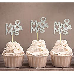 Darling Souvenir, Mr & Mrs Wedding Cupcake Toppers, Party Dessert Decorations - Pack Of 20