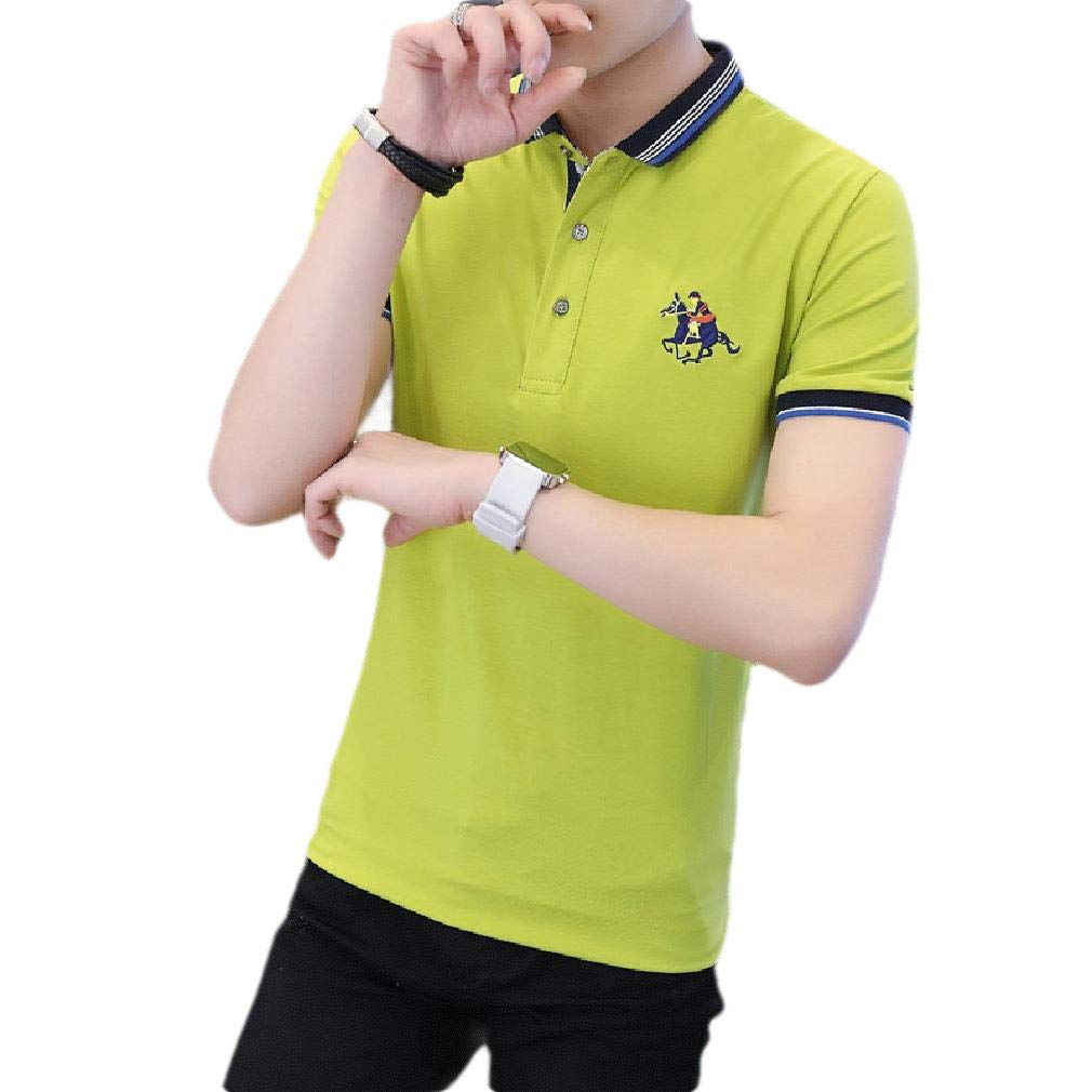 CuteRose Mens Lightweight Embroidered Slim Casual Contrast Tees Polo Shirt