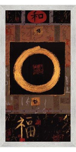 Poster Palooza Framed Asian Tranquility- 18x36 Inches - Art Print (White Barnwood Frame)