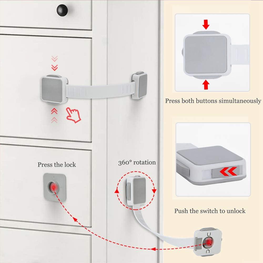 1 piezas gris LINVINC Beb/és Bloqueo de Seguridad Caj/ón Nevera Armario gabinetes Puerta Bloqueo de Seguridad para ni/ño beb/é ,con Adhesivo