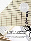 Composition Notebooks And Journals Books With Drafting Graph Paper Quad Rule ( 10 Squares Per Inch ): Graphing Notebook Journal Book College Ruled Square Grid Minimalist Art Numbered Pages Volume 27