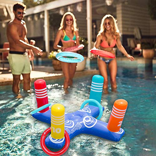 Inflatable Ring Toss Pool Game Toys Floating Swimming Pool Ring with 4 Pcs Inflatable Rings for Multiplayer Water Pool Game Kid Family Pools Toys & Water Fun Outdoor Play Game Party Favors for Adults