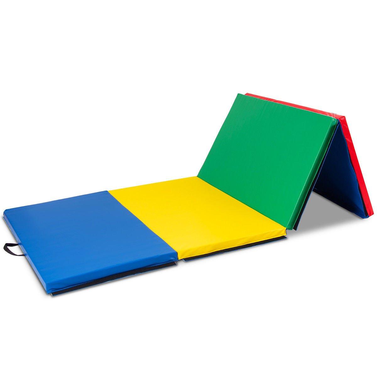 エクササイズマット 4フィートx10フィートx2 体操 折りたたみパネル 厚手 ジム フィットネス マルチカラー 電子書籍付き