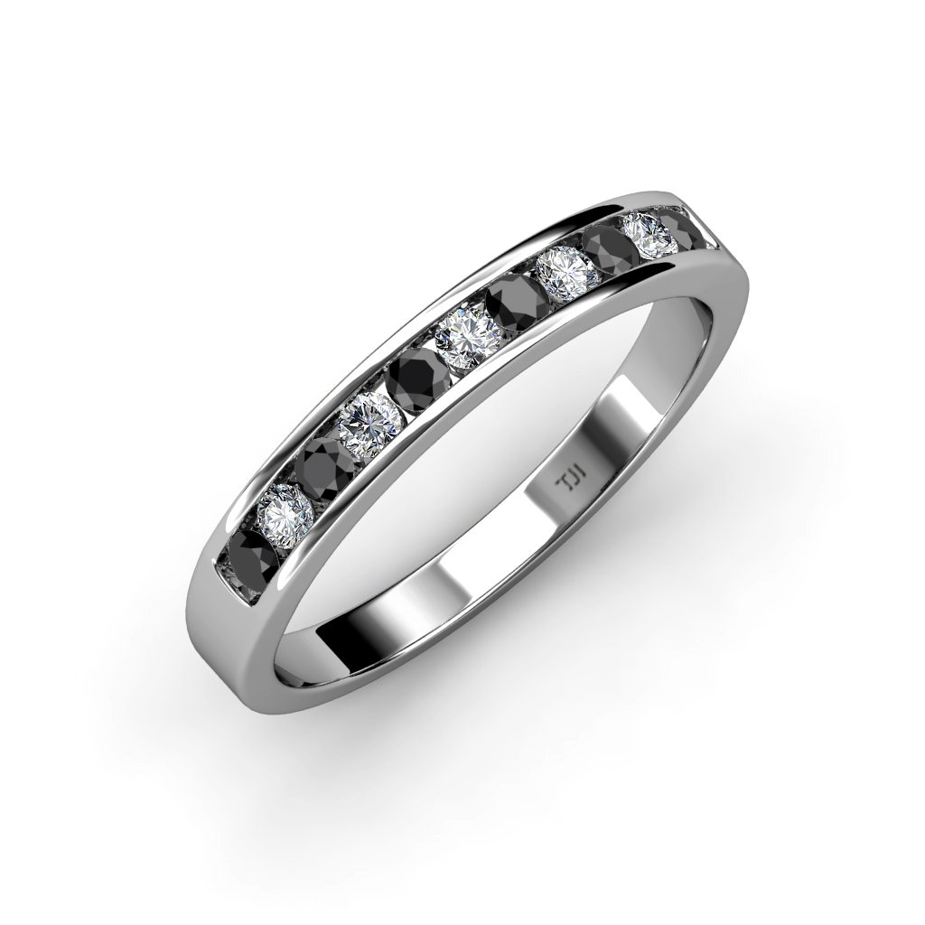 TriJewels Treated Black & White Diamond 11 Stone Channel Set Wedding Band 0.60 ctw 14K White Gold.size 6.0