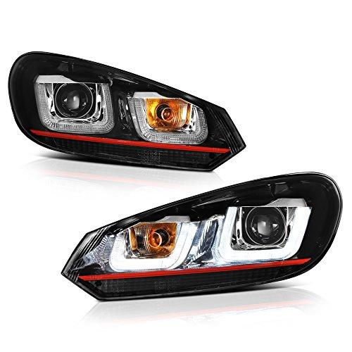 [For 2010-2014 Volkwagen MK6 Golf GTI VW Jetta Sportwagon Halogen Model] OLED Neon Tube Black Projector Headlight Headlamp Assembly, Driver & Passenger Side ()