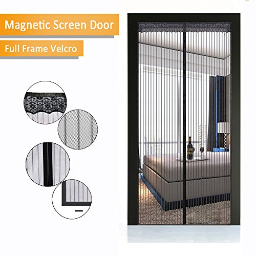 Magnetic Screen Door - New 2017 Design, Full Frame Velcro & Heavy Duty Mesh Curtain, 28 Sewn-in Magnets, Fits Door Up To 38 x 82-Inch by IFUNK