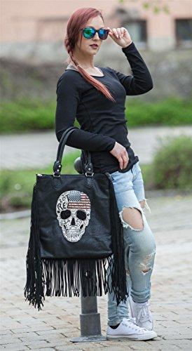 américain noir main Gris femmes tête couleur drapeau mort styleBREAKER sac strass 02012064 et de foncé franges Antique Gris à dessin antique bandoulière longues Foncé wfUvIwExq