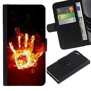 Paccase / Billetera de Cuero Caso del tirón Titular de la tarjeta Carcasa Funda para - Funny Fire Hand - Apple Iphone 5 / 5S