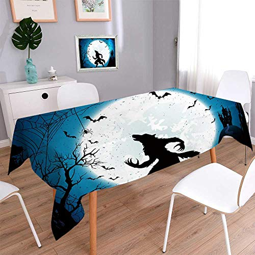 Rectangle Polyester Tablecloth Table Cover Dark Halloween with Moon on blue sky castle and werewolf spiders and flying bats Wedding Restaurant Party Banquet Decoration/Oblong, 52 x 70 Inch for $<!--$29.99-->