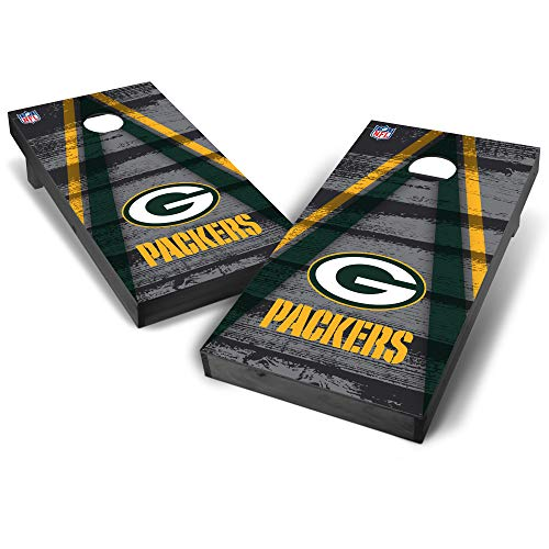 (Wild Sports NFL Green Bay Packers 2' x 4' Grey Authentic Cornhole Game Set - Vintage Triangle Design)