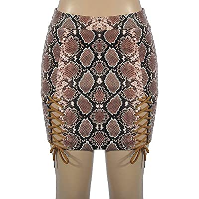 Kanhan Womens Snake Print Strapped Lace Up Mini Skirt Ladies High Waist Bodycon Clubwear Skater