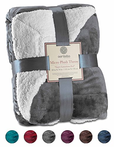 Genteele Super Soft Luxurious Sherpa Blanket Throw, 50