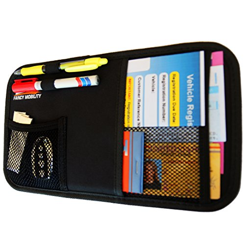 Fancy Mobility Car Sun Visor Organizer - Auto Accessories Document Holder - Car, Truck, SUV Registration & Insurance Storage Pouch - Road Trip Essential Gift for Any Driver - Comes With a Unique eBook (Organizer Visor Sun)