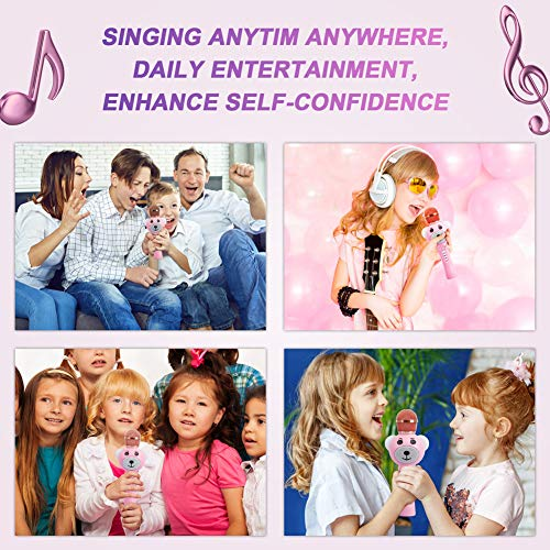 Upgraded 2019 Version Kids Karaoke Microphone with Bluetooth, Magic Voice Changer, and Flashing Multicolored LED Lights(Pink) by Garoma (Image #4)