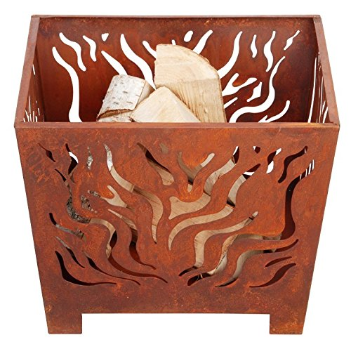 Esschert Design Fire Basket Straight - Create A Cozy Patio Setting As You Watch The Flames Dance From This Unique Fire Basket; Safer Than A Ground Campfire Rustic Aged Metal With Laser Cut Flames Design Rustic Aged Metal - patio, outdoor-decor, fire-pits-outdoor-fireplaces - 51d8dtk5n8L -