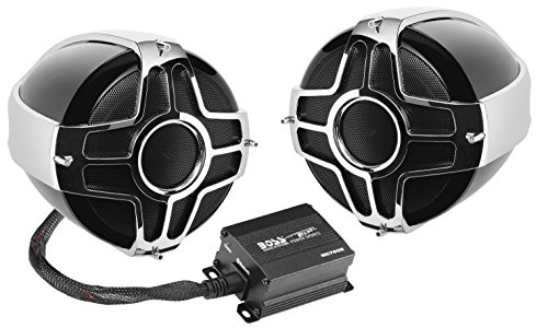 BOSS Audio MC750B Motorcycle / ATV Speaker System - Bluetooth, Weatherproof, Two 4 Inch Speakers, One 2 Channel Amplifier, One Volume Control, Ideal With ATV/Motorcycle/12 Volt Vehicles