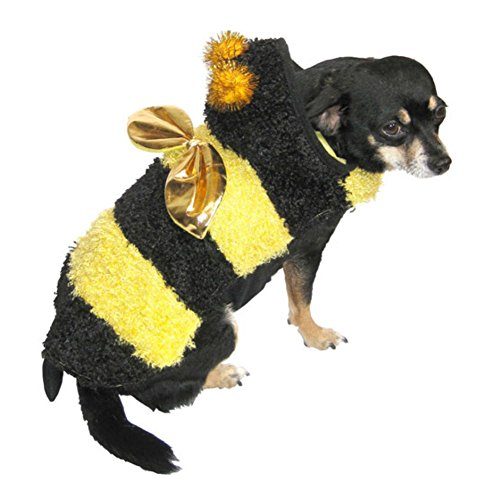 Plush Yellow Bee Dog Costume Bumblebee Pet Outfit XXS -