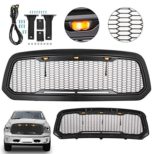 (Mophorn Front Grill For 2013-18 Dodge Ram 1500 Mesh Grille Raptor Style Upper Replacement Grille w/LED Amber Lighting ABS Grille Black Grille Grill)