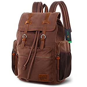 Lifewit 17 Inch Canvas Laptop Backpack Unisex Vintage Leather Casual Hiking Rucksack Women Travel School Bags
