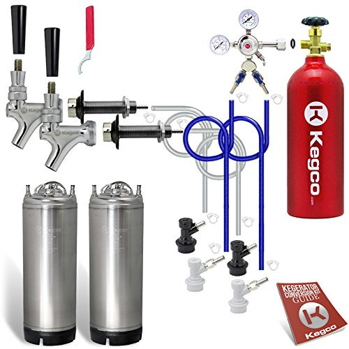 Kegco EBSHCKBALLKEG2-5T Two Keg Door Mount Homebrew Kegerator Kit Ball Lock with 5 lb. Tank, Chrome