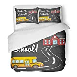 SanChic Duvet Cover Set Colorful Architecture School Bus Going to Using Coloring Doodle Style Back Text on Chalkboard Red Decorative Bedding Set Pillow Sham Twin Size