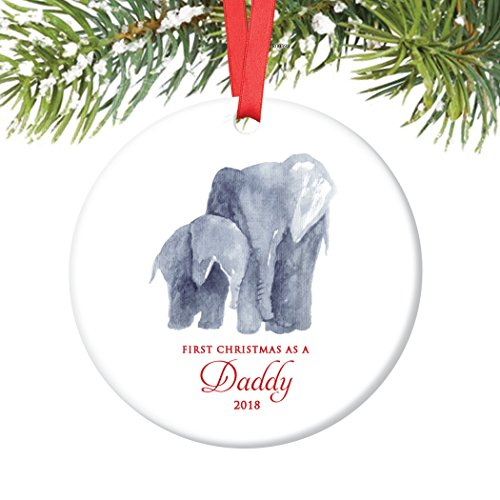 New Daddy Ornament 2018, First Christmas as a Daddy, Baby & Papa Elephant Porcelain Ornament, 3