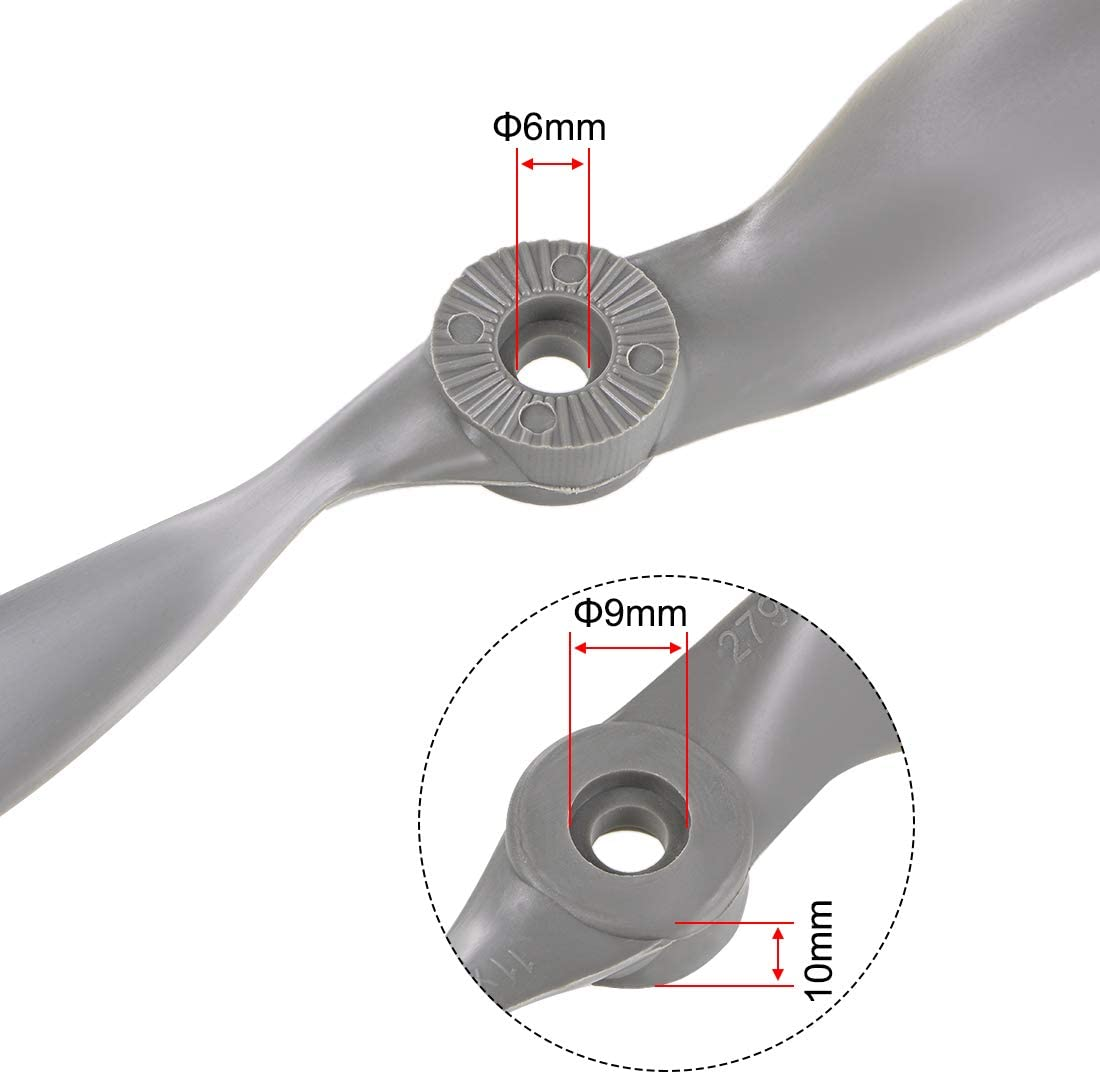 uxcell RC Propellers CW 11x7 Inch 2-Vane for Airplane Toy Nylon Gray 3Pcs with Adapter Rings