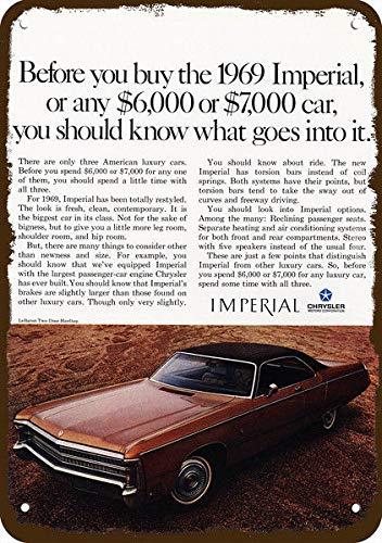 Yilooom 1969 Chrysler Imperial Lebaron 2door Hardtop Car Vintage Look Replica Metal Sign 7