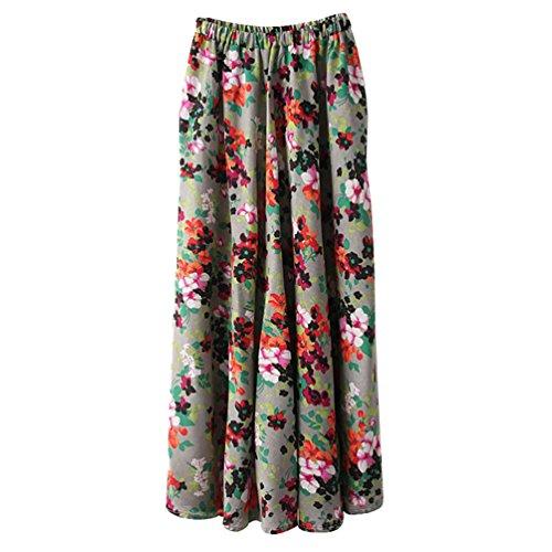ZKOOO Longue Jupes pour Femmes Boheme Fleurs Impression Maxi Jupe de Plage Taille Haute Parapluie Skirts Style#12