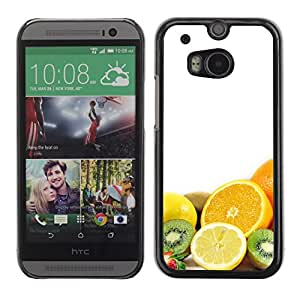 Soft Silicone Rubber Case Hard Cover Protective Accessory Compatible with HTC ONE M8 2014 - Fruit Macro Fruits Combo