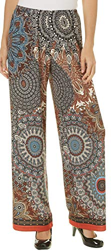 Medallion Palazzo (Melissa Paige Womens Mixed Medallion Palazzo Pants Medium Beige Multi)