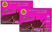 CACEP   Barra 1kg Chocolate Orgánico Semi Amargo 70% cacao   Bajo en azúcar   2 Pack   Sin lácteos   Vegano  