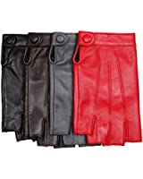 Warmen Women's Nappa Leather Half Finger Fingerless Motorcycle Fitness Cycling Hunting Driving Lined Gloves