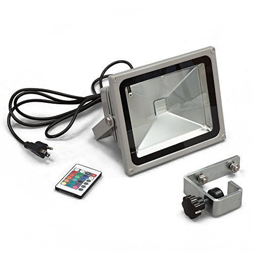 Vispronet LED Flood Light with Mounting Bracket, Outdoor Security Light, Wall Light, Pop UP Canopy Tent Light, 30w, IP65 Waterproof, 2700 LM, 6400K, RGB with Remote (Set of (Remote Pop Up Set)